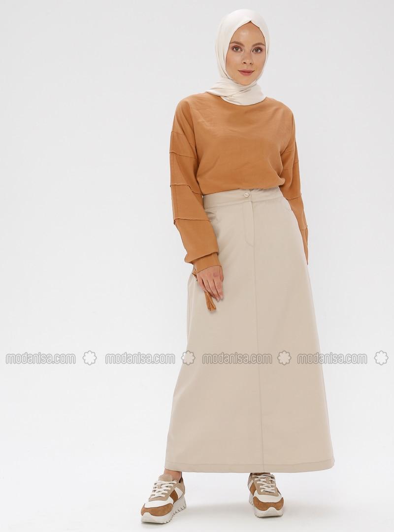 Beige - Unlined -  - Viscose - Skirt