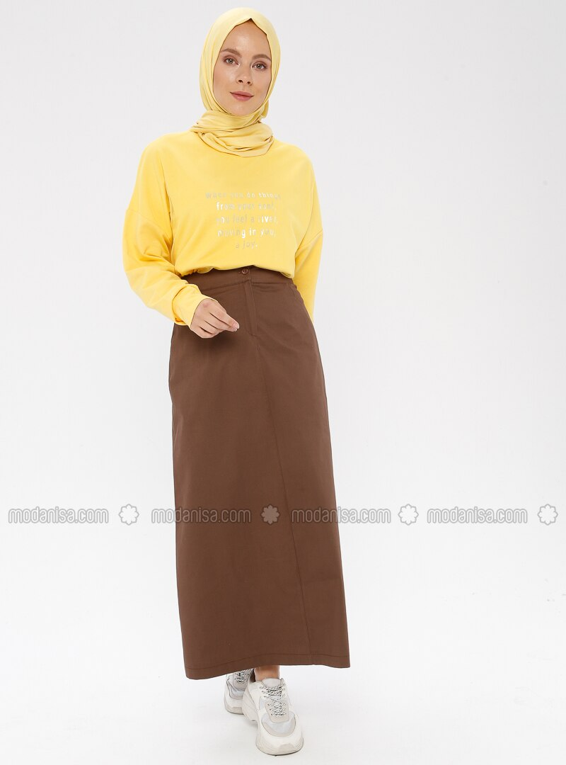 Brown - Unlined -  - Viscose - Skirt