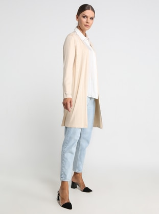 Beige - V neck Collar - Viscose - Cardigan