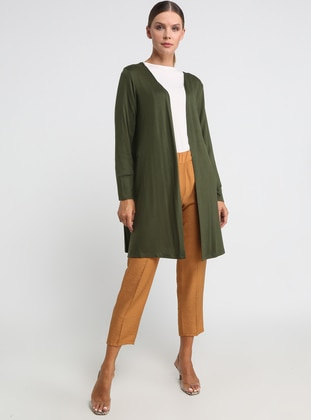 Khaki - V neck Collar - Viscose - Cardigan