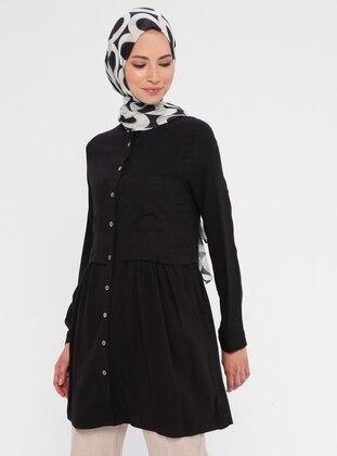 Black - Button Collar -  - Tunic