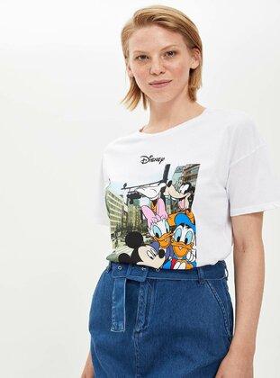 White - T-Shirt - DeFacto