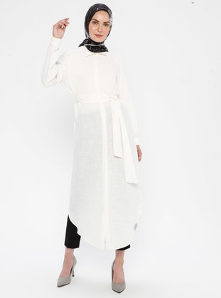 White - Ecru - Point Collar -  - Viscose - Tunic