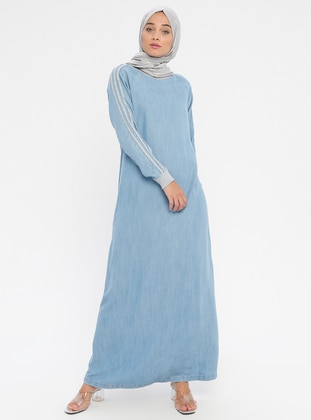Blue - Indigo - Crew neck - Unlined - Cotton - Denim - Dress