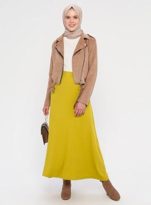 Mustard - Unlined - Viscose - Skirt