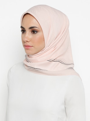 Cream - Printed - Plain - Chiffon - Scarf