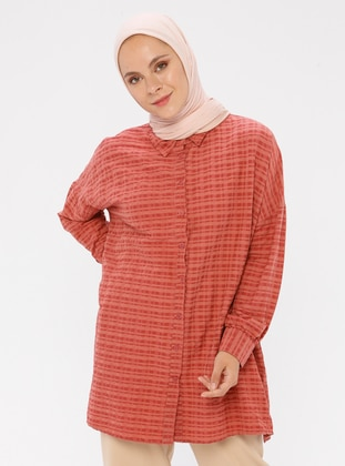 Red - Checkered - Point Collar - Viscose - Blouses