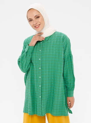 Green - Checkered - Point Collar - Viscose - Blouses