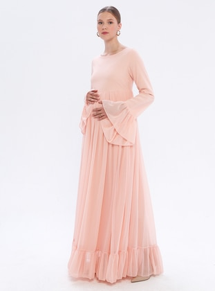 Powder - Powder - V neck Collar - Fully Lined - Maternity Dress