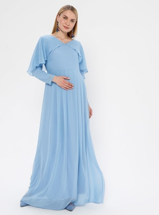 Blue - V neck Collar - Fully Lined - Maternity Dress