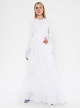 White - Ecru - Crew neck - Fully Lined - Maternity Dress - Moda Labio
