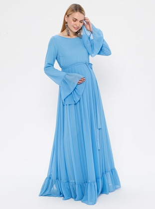 Blue - Crew neck - Fully Lined - Maternity Dress - Moda Labio
