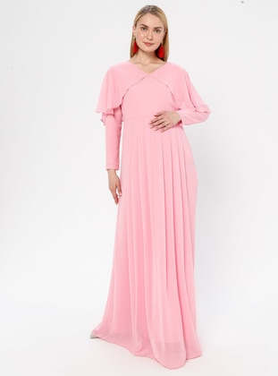 Pink - V neck Collar - Fully Lined - Maternity Dress
