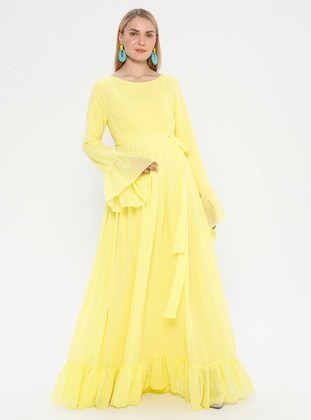 Yellow - Crew neck - Fully Lined - Maternity Dress - Moda Labio