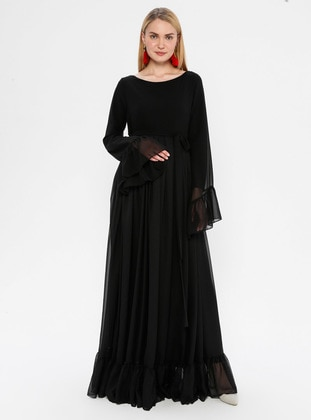 Black - Crew neck - Fully Lined - Maternity Dress