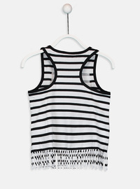 Stripe - Crew neck - Black - Girls` T-Shirt