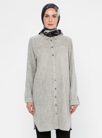 Black - Point Collar -  - Viscose - Tunic