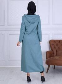 Bleu - Tissu non doublé -  - Abaya