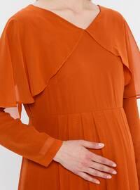 Terra Cotta - V neck Collar - Fully Lined - Maternity Dress