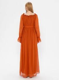 Terra Cotta - Boat neck - Fully Lined - Cotton - Maternity Dress