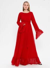 Kırmızı - Yuvarlak yakalı - Astarlı - Hamile elbisesi
