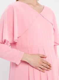 Pink - V neck Collar - Fully Lined - Maternity Dress