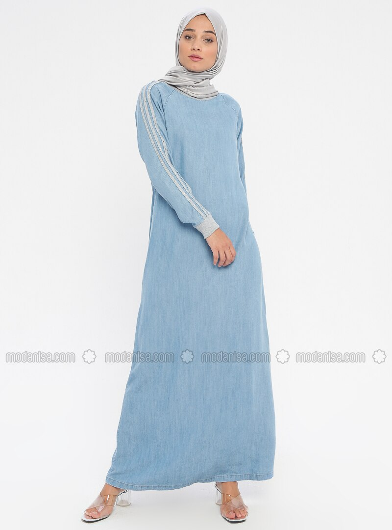 Blue - Indigo - Crew neck - Unlined - Cotton - Denim - Dress