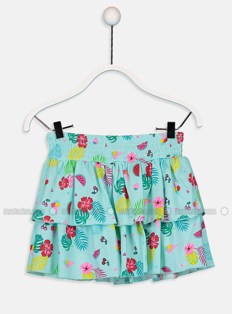 Printed - Green - Girls` Skirt