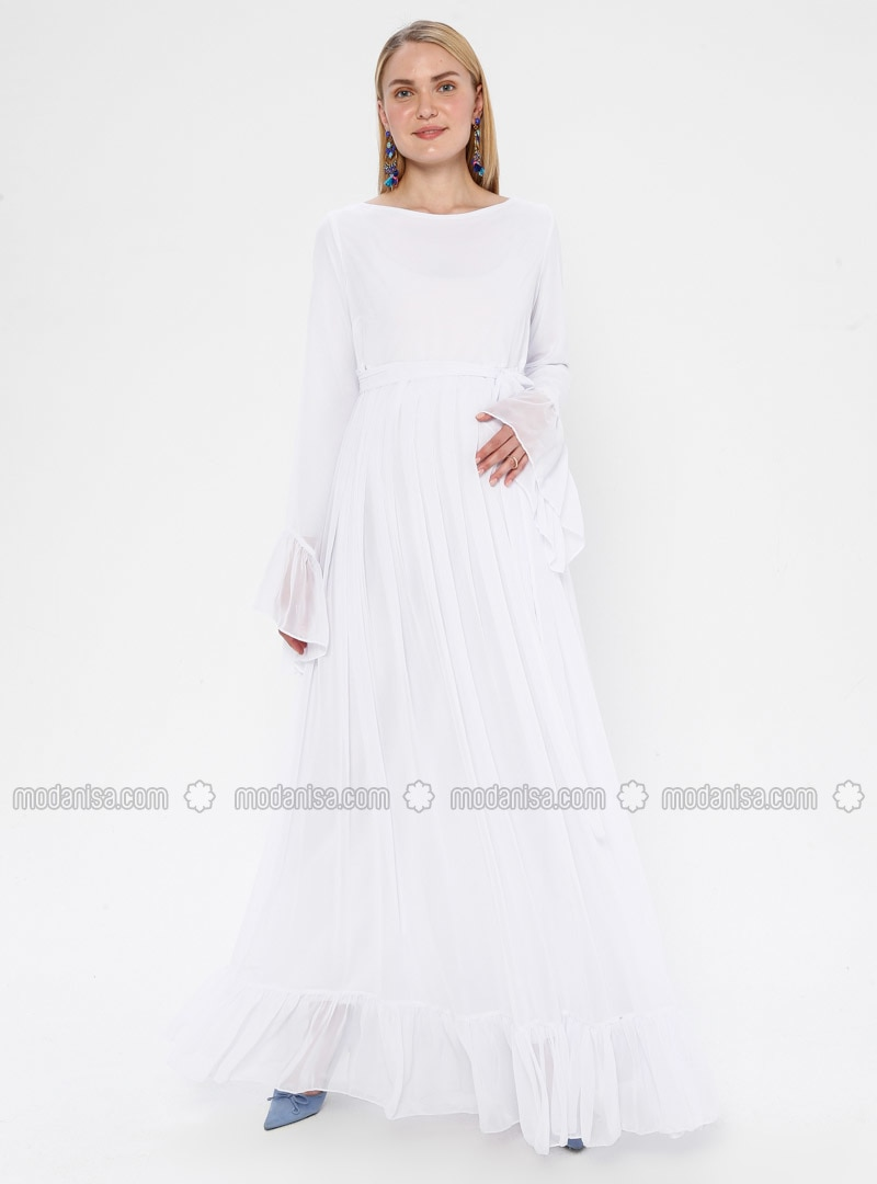 White - Ecru - Crew neck - Fully Lined - Maternity Dress