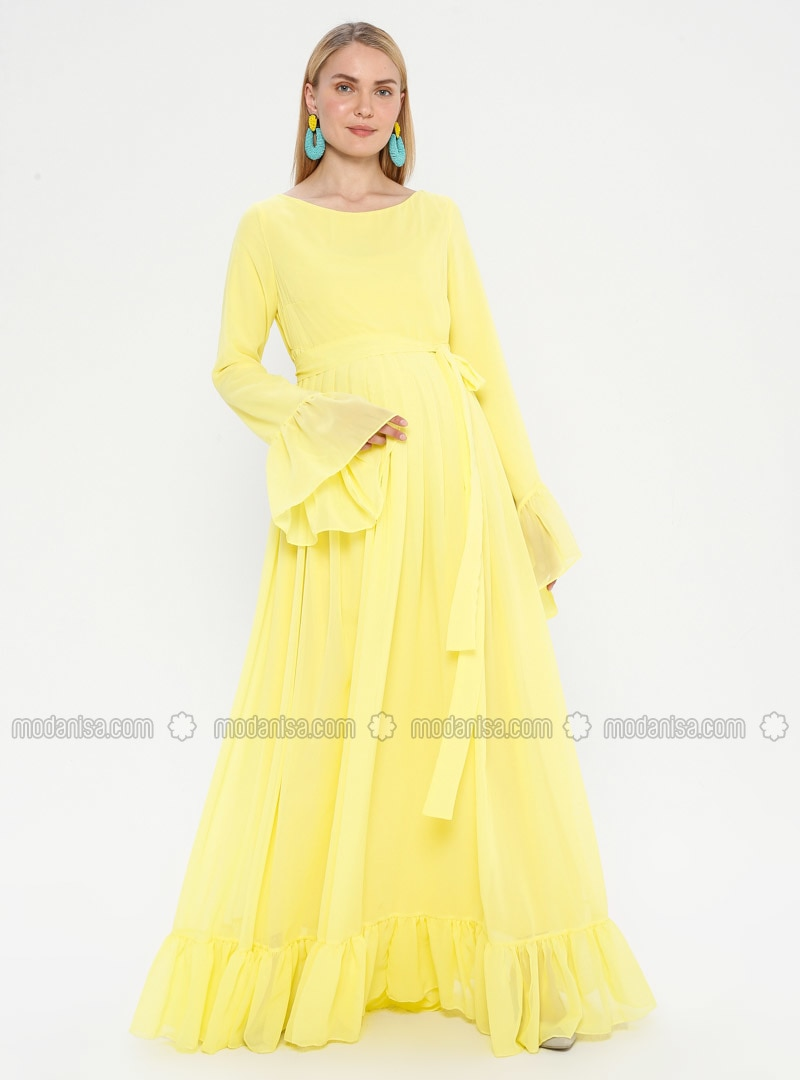 Yellow - Crew neck - Fully Lined - Maternity Dress