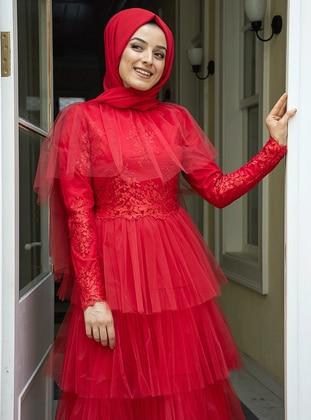 Red - Unlined - Crew neck - Muslim Evening Dress