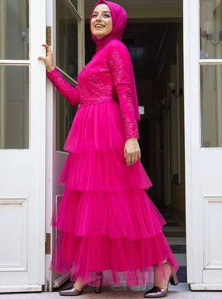 Fuchsia - Unlined - Crew neck - Muslim Evening Dress