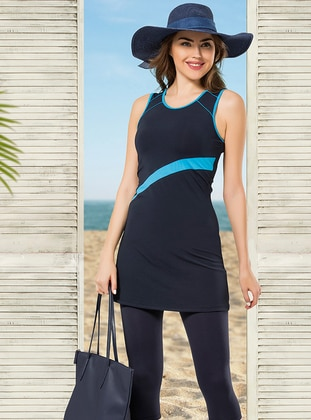 Navy Blue - Turquoise - Half Covered Switsuits