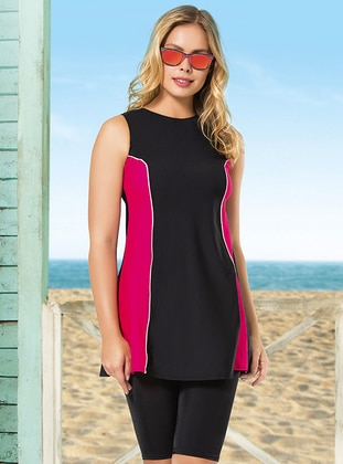 Black - Pink - Fuchsia - Half Covered Switsuits