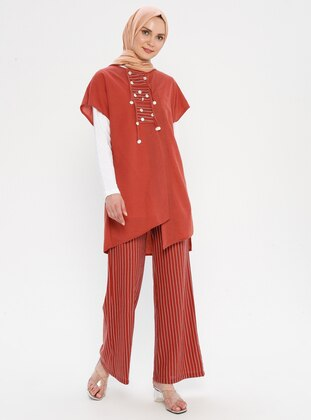 Terra Cotta - Coral - Stripe - Unlined - Suit