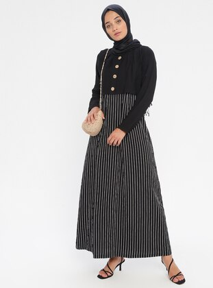 Black - Stripe - Crew neck - Unlined - Viscose - Dress