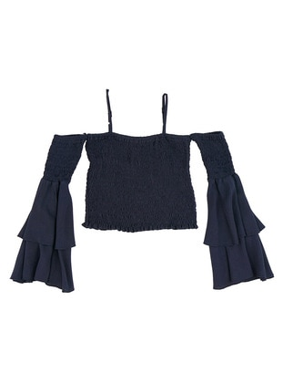 Sweatheart Neckline - Navy Blue - Girls` Blouse