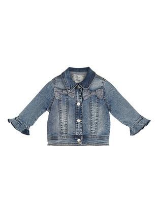 Point Collar - Blue - Girls` Jacket