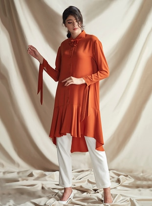 Terra Cotta - Point Collar - Crepe - Tunic