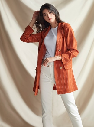 Orange - Stripe - Unlined - Shawl Collar - Jacket
