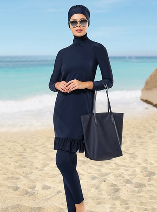 Navy Blue - Unlined - Fully Covered Swimsuits