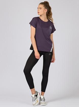Purple - Black - Geometric - Crew neck - Tracksuit Set