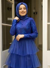 Saxe - Unlined - Crew neck - Muslim Evening Dress
