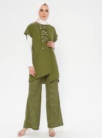 Khaki - Stripe - Unlined - Suit