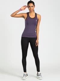 Purple - Black - Crew neck - Tracksuit Set