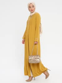 Yellow - Mustard - Crew neck - Unlined - Abaya