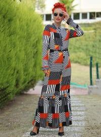 Beyaz - Siyah - Çiçekli - Fransız yakalı - Astarsız kumaş - Elbise