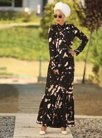 Pembe - Siyah - Çiçekli - Fransız yakası - Astarsız - Elbise