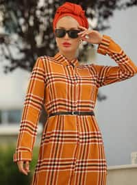 Tarçın - Çiçekli - Fransız yakalı - Astarsız kumaş - Elbise
