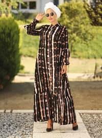 Pembe - Siyah - Fransız yaka - Astarsız kumaş - Elbise